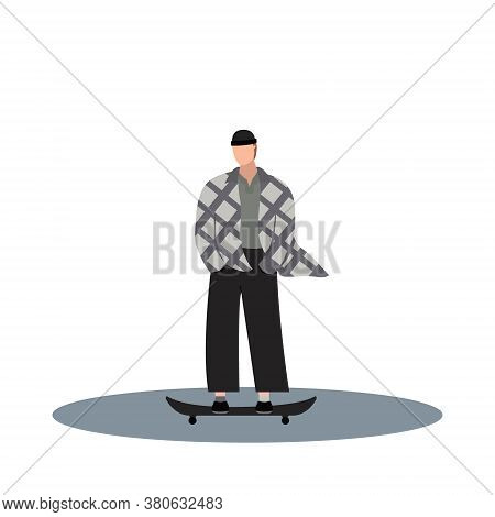 Guy Riding On Skateboard Wearied In Checkered Shirt And Hat. Flat Cartoon Character On Isolated Whit
