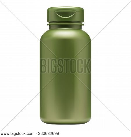 Vitamin Pill Bottle. Supplement Container Blank. Green Plastic Pack For Pharmaceutical Capsule Or Pr