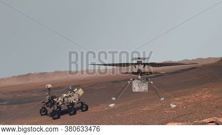 Mars. Perseverance Rover And Ingenuity Helicopter Explore Mars Against The Backdrop Of A Real Martia