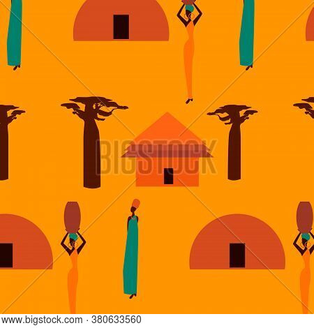 Huts In Africa. Vector Flat Illustration  Huts And Baobabs...idea For Design.print On Fabric. Styliz