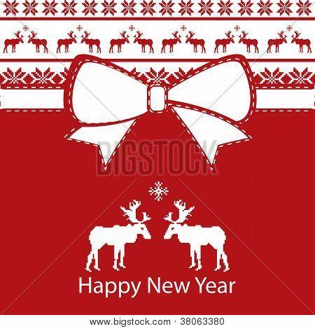 Greeting New Year Card, Scandinavian design