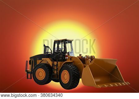 Wheel Loader  On The Sun Large Size Background