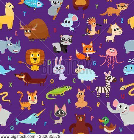 Cute Cartoon Animals Alphabet Pattern Isolated On Violet.