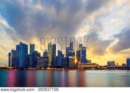 Singapore, Singapore - JULY 13, 2020: View at Singapore City Skyline at night