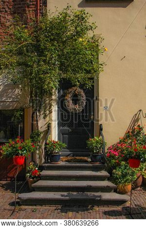 Deventer, Netherlands - July 11 2020: View Of The Famous Walstraat In The Dutch Historic City Center