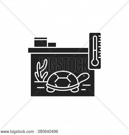 Reptile Care Black Glyph Icon. Improving The Life Of Reptiles. Actions Aimed At Their Care. Pictogra