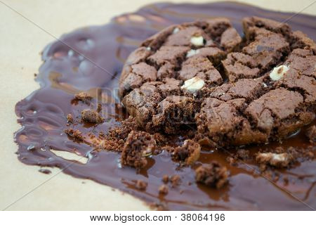 Chocolate Chip Cookie In Chocolate Sauce