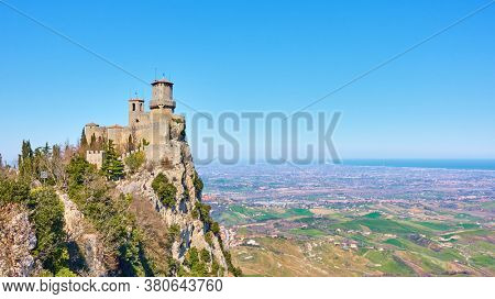 Panoramic view with The first tower of San Marino on Titano mount, Respublic of San Marino. Landscape with space for your own text