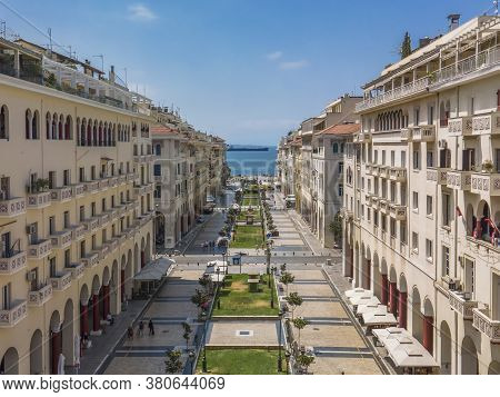 Thessaloniki, Greece - August 02 2020: Aerial Drone View Of Aristotelous Square With Less Crowd. Day