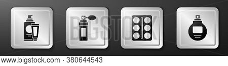 Set Cream Or Lotion Cosmetic Tube, Perfume, Eye Shadow Palette And Perfume Icon. Silver Square Butto