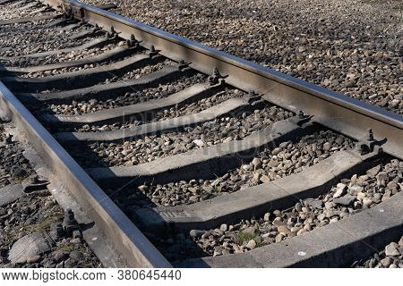 Railroad Track On The Ground.railroad Track On The Ground