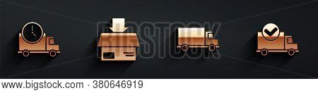 Set Logistics Delivery Truck And Clock, Carton Cardboard Box, Delivery Cargo Truck Vehicle And Deliv
