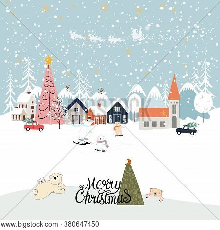 Vector Winter Landscape,cute Winter Wonderland At Countryside With Snow Falling, Polar Bear Playing