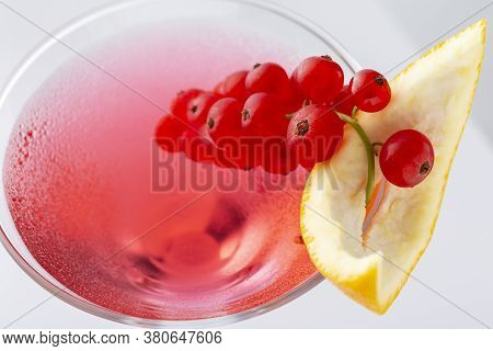 Close Up Of Cosmopolitan Cocktail With Vodka, Triple Sec, Cranberry Juice And Freshly Squeezed Lime