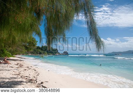 Summer Scenic View Of Anse Severe Sandy Beach In A Beautiful Tropical Bay With Turquoise Water.  La
