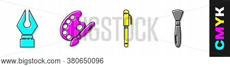 Set Fountain Pen Nib, Paint Brush With Palette, Pen And Paint Brush Icon. Vector