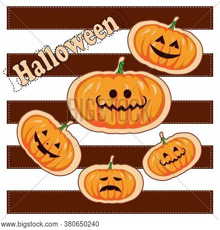Pumpkin On White Background. Pumpkin  For Your Design For The Holiday Halloween. Can Be Used For  Cl