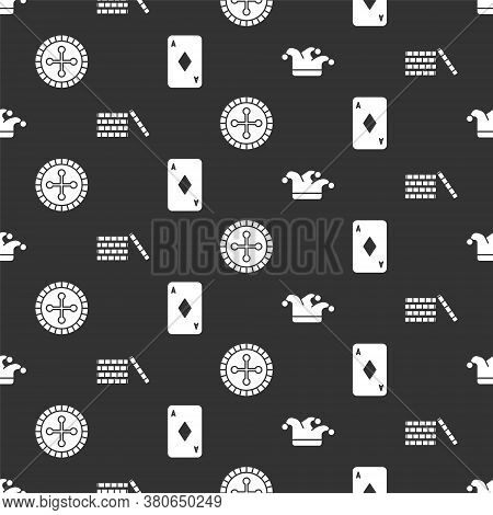 Set Joker Playing Card, Casino Chips, Casino Roulette Wheel And Playing Card With Diamonds On Seamle