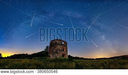 Meteor Shower And The Milky Way With Old Ruin On Foreground