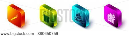 Set Isometric Cigarette, Fire Bucket, Campfire And Fire In Burning House Icon. Vector