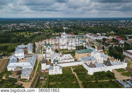 Aerial Summer View Of White Nikitskiy Monastery With Silver Domes In Pereslavl Zalessky, Yaroslavl R
