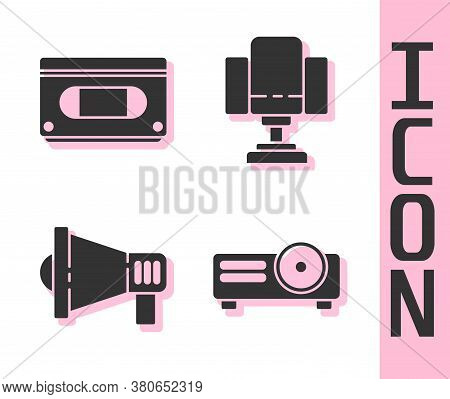 Set Movie, Film, Media Projector, Vhs Video Cassette Tape, Megaphone And Director Movie Chair Icon.