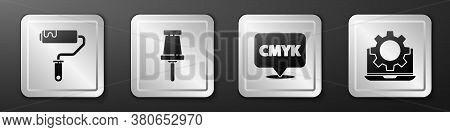Set Paint Roller Brush, Push Pin, Speech Bubble With Text Cmyk And Laptop And Gear Icon. Silver Squa