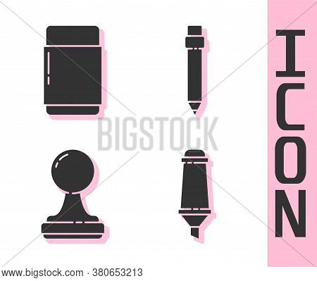 Set Marker Pen, Eraser Or Rubber, Stamp And Pencil With Eraser Icon. Vector
