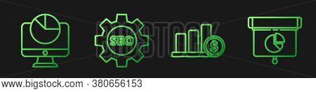 Set Line Pie Chart Infographic And Dollar, Computer Monitor With Graph Chart, Seo Tag With Gear Whee