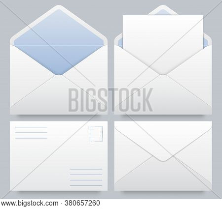 Realistic Mail Envelopes Mockup. Message Postal Mail, Letterhead Blank Paper Mockup, Document In Env