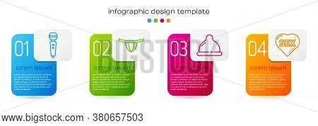 Set Line Dildo Vibrator, Woman Panties, Condom And Heart With Text Sex. Business Infographic Templat