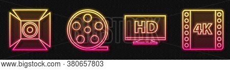 Set Line Smart Display With Hd Video, Movie Spotlight, Film Reel And 4k Movie, Tape, Frame. Glowing