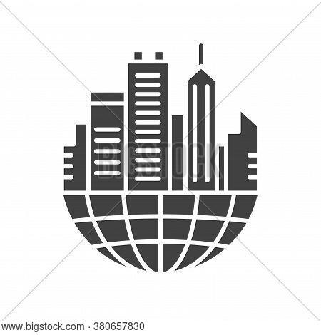Urban Sprawl Black Glyph Icon. Urbanization. Expansion Of Megalopolises. Environmental Problems. Sig