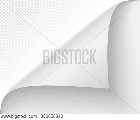 Curled Page Corner. Vector Note And Turn Page, Curl Blank Message, Sticker Shadow Edge, Sheet Twiste