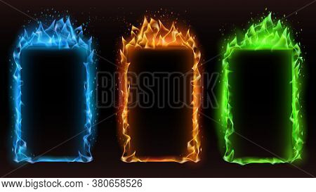 Fire Frames Diffrent Colors. Vector Fire Frame Color, Motion Effect Orange And Blue Glowing, Danger