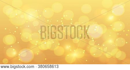 Golden Bokeh Background. Gold Bokeh Magic With Orange Sparkle, New Year Glitter Shine, Holiday Banne