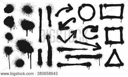 Graffiti Spray Lines, Grunge Dots, Arrows And Frames. Vector Graffiti Dot Dirty, Grunge Ink Black, S