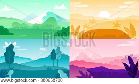 Nature Landscape Background. Landscape Sky And Mountain, Hill Outdoor And Tree Natural Colorful, Vec