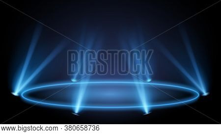 Neon Pedestal With Lights. Podium And Pedestal Presentation, Glowing Showcase Floor. Vector Illustra