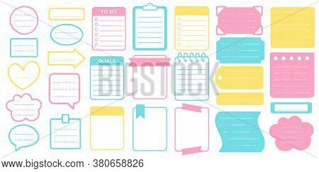 Planner Stickers And Frames Set. Sticker Planner Template, Frame For Scrapbook Set, Illustration Not