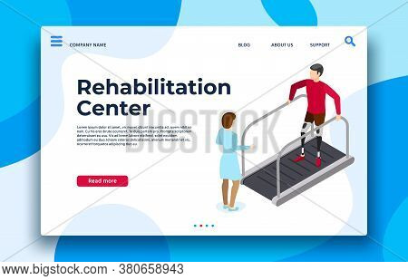 Rehabilitation Center Landing Page. Vector Rehabilitation And Recovery Patient, Physiotherapy Medica
