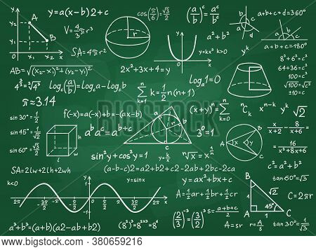 Math Theory. Mathematics Calculus On Class Chalkboard. Algebra And Geometry Science Handwritten Form