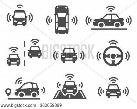 Driverless Car Icons. Autonomous Robotic Car, Smart Driving Vehicles, Navigation Mobile Lines Road,