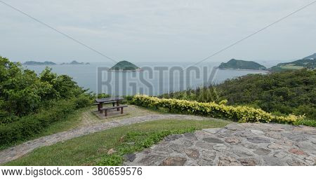 Beautiful picnic garden landscape with sea view