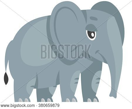 Standing Baby Elephant Three Quarter View. African Animal In Cartoon Style.