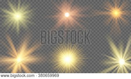 Sun Ray Effect. Starburst Yellow Shine, Sunlight Radiance On Transparent Background. Sunshine Beams,