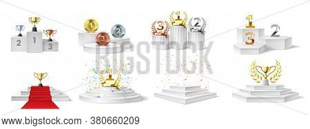 Winner Podium, Medal And Cups. Trophies On Illuminated Podium For Ceremony Award, Prizes On Stair-st