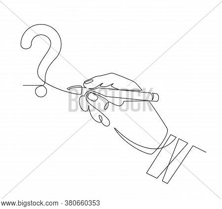 Hand Writes Question Mark. Sketch One Line Hand Draw Question Mark, Quiz And Survey Symbol, Continuo