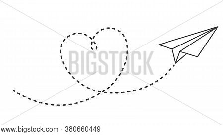 Paper Plane With Heart Path. Flying Airplane With Dotted Air Route In Heart, Romantic Or Message Val