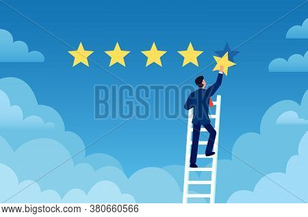 Customer Rating. Businessman Stands On Ladder And Gives 5 Star, Customer Feedback. Positive Review E
